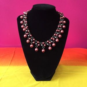 Jewelry - Gray and Pink Faux Pearl Statement Necklace